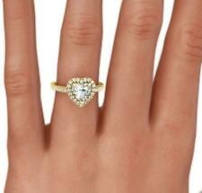 DIAMOND HALO RING HEART SHAPE 18 KT YELLOW GOLD FILIGREED 1.5 CARAT SIZE 6 7 8