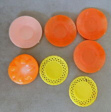 Barbie 1970s Accessory Vintage Dishes Assorted Clone Orange Yellow Pink Lot of 7