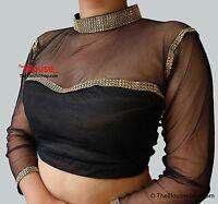 w2Indian Bollywood New Sari Saree Blouse Net Quarter Sleeves Designer Party Wear