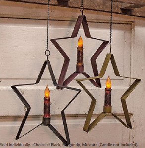 "Hanging Star Taper Candle Holder Metal 9 1/2"" T Available in Choice of Color"