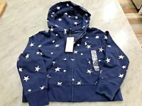 Polo Ralph Lauren Kids Distressed Star Print Hoodie Sweatshirt Blue Cotton Blnd