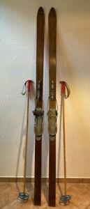 Antike Alte Holzski Biewa Ski Bambus Stöcke Stratos Riemen Bindung Vintage Deko8