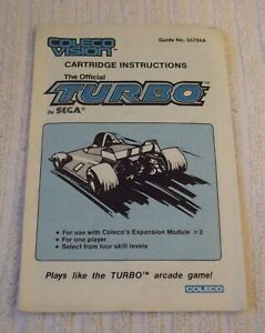 COLECO VISION (RARE) INSTRUCTION MANUAL ONLY *** THE OFFICIAL TURBO *** USED