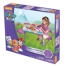 Nickelodeon Pink Paw Patrol Kids Activity Folding Table and Two Chairs Set NEW
