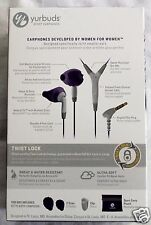 YURBUDS PURPLE 3 BUTTON W/MIC NO TANGLE SPORT EARBUDS NEVER FALLS OUT TWISTLOCK