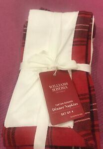William Sonoma Red Tartan Border 100% Cotton Dinner Napkin 4 Pc Christmas NWT