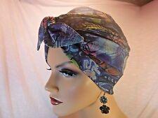 "Retro-Metro Chemo Turban Hat Hijab Rockabilly Graffiti Denim Knit ""Something4you"