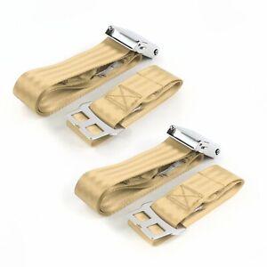 Chevy II 1962-1965 Airplane 2pt Tan Lap Bucket Seat Belt Kit - 2 Belts SafTboy