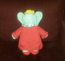 Doudou Babar céleste couronne toile parachute 40 cm environ peluche robe rouge