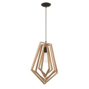 """Craftmade Gem 1 Light Pendant 15x139"""", Espresso w/Wood - 44592-ESP"""