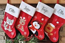 Personalised Red Embroidered Santa Christmas Stockings