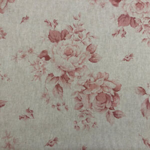 Dorothy French Faded Roses Floral Linen Fabric in Red 140cm Curtains