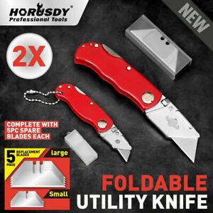 2Pc Folding Utility Knife Aluminium Handle & 10 Spare Stanley Blades Craft New