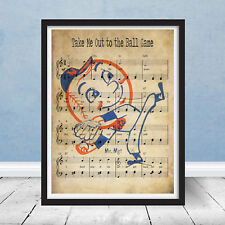 Vintage Take Me Out to Ball Game New York Mets Mr Logo Music Print Wall Art Gift