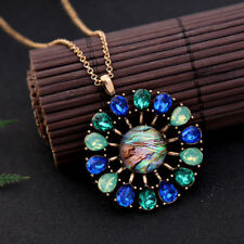 Green and Aqua Teardrop Daisy Flower Pendant Necklace for Women Christmas Gift