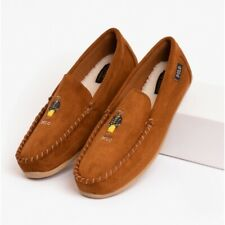 Polo Ralph Lauren DECLAN BEAR Mens Classic Microsuede Moccasin Slippers Snuff