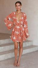 Sexy Women Boho Floral V Neck Wrap Mini Dress Holiday Beach Long Sleeve Sundress