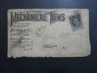 US 1883 The Mechanical News (NYC) Cacheted Cover / Sm Side Tears - Z9177