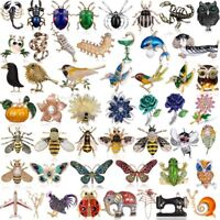 Womens Crystal Pearl Bird Butterfly Insect Plant Animal Brooch Pin Jewellery Hot