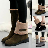 Womens Winter Suede Warm Snow Martin Boots Fur Thicken Mid Calf Ankle Shoes