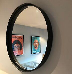 Matt Black artisan 55cm round mirror