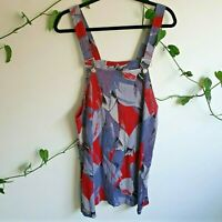 Vtg 90s Abstract Print Overall Pinafore Mini Dress M Viscose Purple Red Black