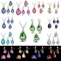 Elegant Women Peacock Crystal Rhinestone Pendant Necklace Earrings Jewelry Set