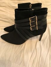 BCBG Zing Womens 7.5M Black Suede Gold Buckle Booties Ankle Boots High Heels