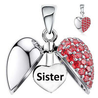 Sister Charm Bead Red Crystal I Love You Heart Sterling Silver Christmas Gift
