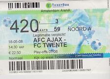 Sammler Used Ticket / Entrada Ajax Amsterdam v FC Twente Enschede 18-05-2008