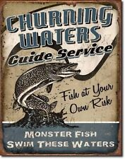 Vintage Replica Tin Metal Sign churning waters guide service fish own risk 1814