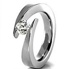 TITANIUM Bypass TENSION Solitaire RING with Round CZ, size 8 -NEW- in Gift Box!