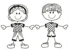 1071:  Machine Embroidery Designs - The Stick Family-Kids (Redwork Version)