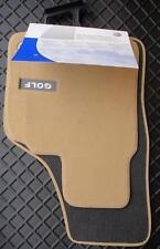 GENUINE VW GOLF MK5 LUXURY BEIGE FRONT CARPET MATS OVAL TWIST FIXINGS JETTA EOS