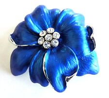 Flower Brooch Blue Enamel Silver Plated Pin Rhinestone Crystal Christmas Gifts