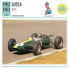 Lotus 25 F1 Course V8 Coventry-Climax 1962-63 GB/UK CAR VOITURE CARTE CARD FICHE