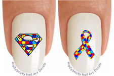 Nail Decals #6502 Autism Awareness Superman Ribbon Waterslide Nail Art Transfer
