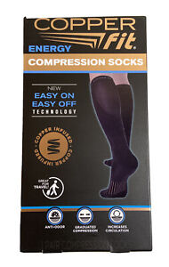 Copper Fit Energy Compression Socks Unisex Size L/XL BLACK Anti-Odor (Open Box)