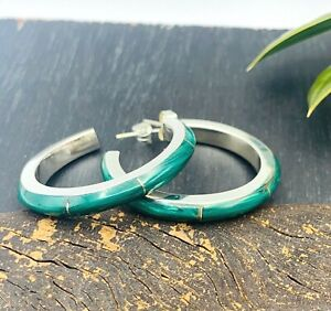 Taxco Mexico Green Malachite Earrings Hoops 925 Sterling Silver -NWT