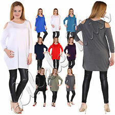 Womens Cut Cold Shoulder Ladies Celebs Baggy Loose Fit Long Shirt Top Tunic 8-26