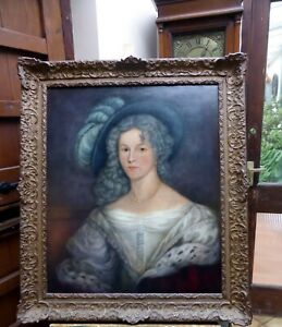 LARGE REGENCY OIL ON CANVAS PORTRAIT LADY WITH THE HAT FREE SHIPPING ENGLAND
