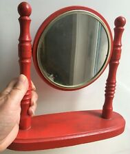 Mirror Vintage Antique Wooden Red Desktop Table Makeup Portable