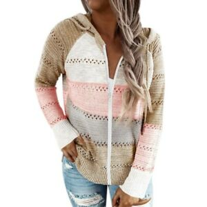 Womens Casual Long Sleeves Front Zip Knitted Stripes Hollow Out Hooded Sweater