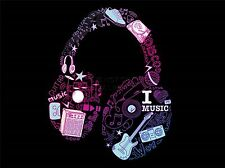 ART PRINT POSTER PAINTING DRAWING MUSIC THEME HEADPHONE TYPOGRAPH LFMP1071