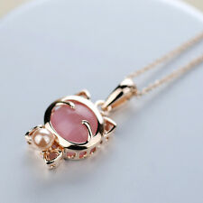 Fashion Women Charm Cute Lucky  White Pink Opal Smile Cat Chain Pendant Necklace