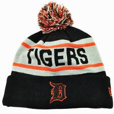 MLB New Era Detroit Tigers Biggest Fan Knit Beanie Pom Pom Cuffed Striped Hat