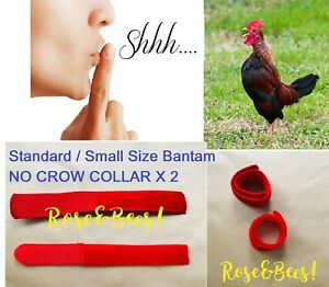 2 X Bantam Cockerel Rooster Quiet No Crow Collar Neck Band Anti Noise Reduction