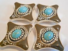 4 SILVER PLATED METAL TURQUOISE S. WESTERN STYLE 2 HOLE SLIDER SPACER BEADS
