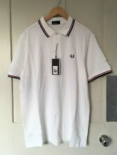New Fred Perry White Classic Polo Shirt Red & Black Twin Tipped XL RRP £75