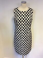 BNWT DONNA KARAN BLACK & IVORY PRINT SHIFT DRESS SIZE 10 UK 14